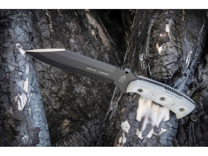 """TOPS Knives Smoke Jumper Fixed Blade Knife 6.5"""" Clip Point 1095 High Carbon Alloy Blade..."""