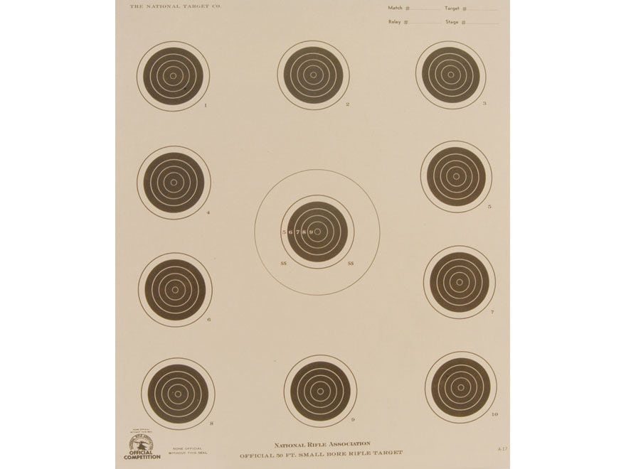NRA Official Smallbore Rifle Targets A-17 50' 4 Position Paper Pack of 100