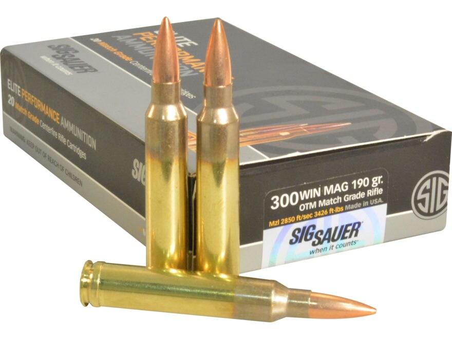 Sig Sauer Elite Performance Match Grade Ammunition 300 Winchester Magnum 190 Grain Open...