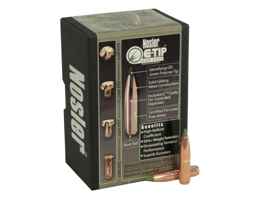 Nosler E-Tip Bullets 264 Caliber, 6.5mm (264 Diameter) 120 Grain Spitzer Boat Tail Lead...