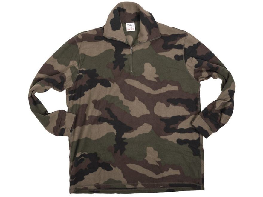 Military Surplus French 1/4 Zip Fleece Pullover CCE Camo