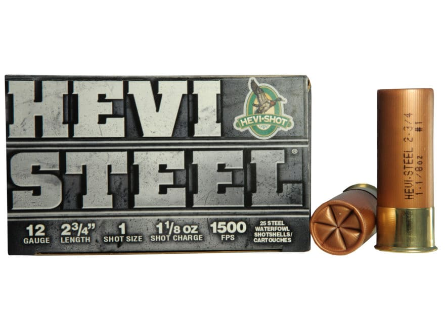 "Hevi-Shot Hevi-Steel Waterfowl Ammunition 12 Gauge 2-3/4"" 1-1/8 oz #1 Non-Toxic Shot"