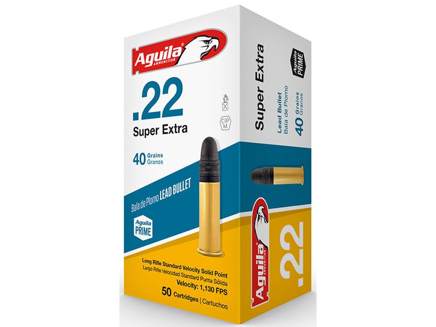 Aguila Super Extra Standard Velocity Ammunition 22 Long Rifle 40 Grain Lead Round Nose