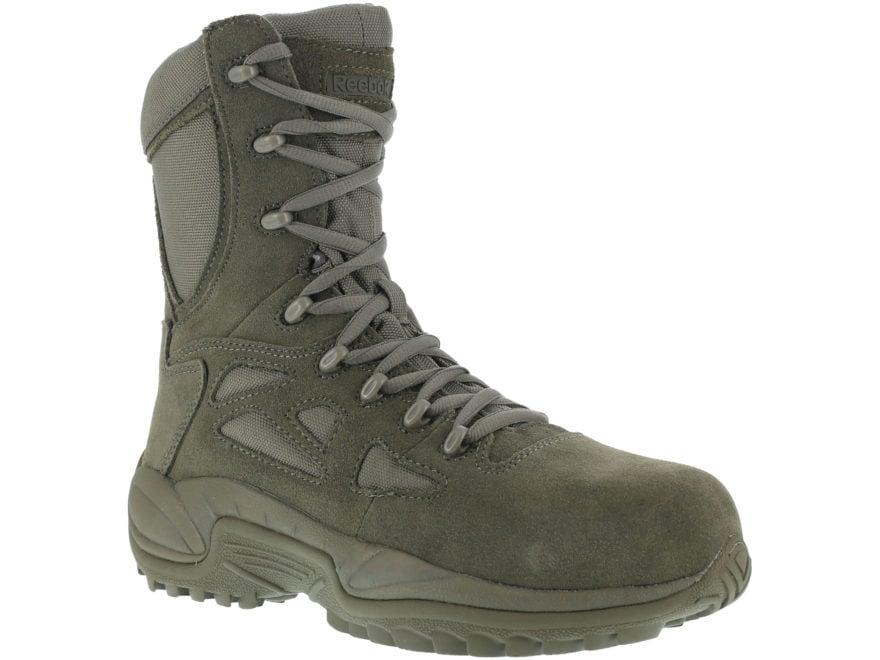 "Reebok Rapid Response 8"" Side-Zip Composite Safety Toe Tactical Boots Leather/Nylon Men's"