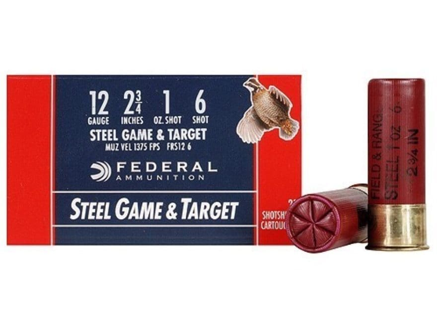 "Federal Game & Target Ammunition 12 Gauge 2-3/4"" 1 oz Non-Toxic Steel Shot"