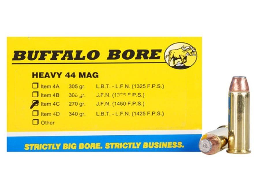 Buffalo Bore Ammunition 44 Remington Magnum 270 Grain Jacketed Flat Nose