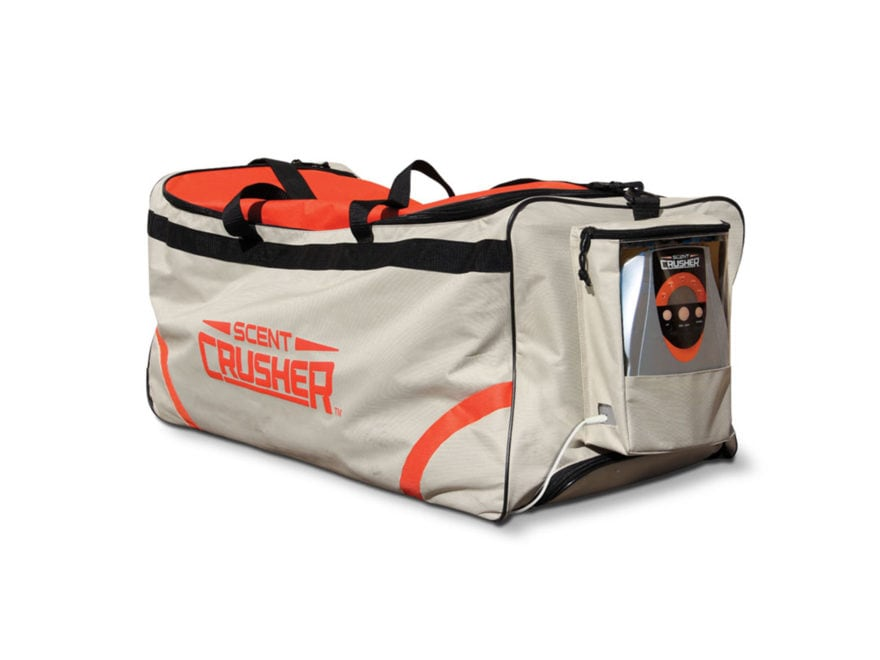 Scent Crusher Rolling Duffel Bag Ozone Scent Elimination Device Nylon Tan and Orange