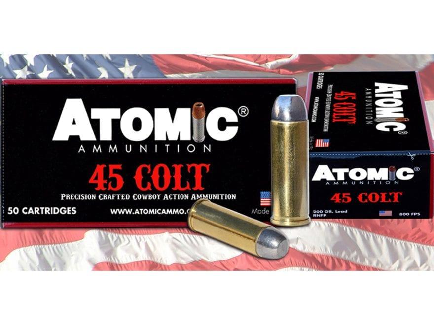 Atomic Ammunition 45 Colt (Long Colt) 200 Grain Lead Round Nose Flat Point Box of 50