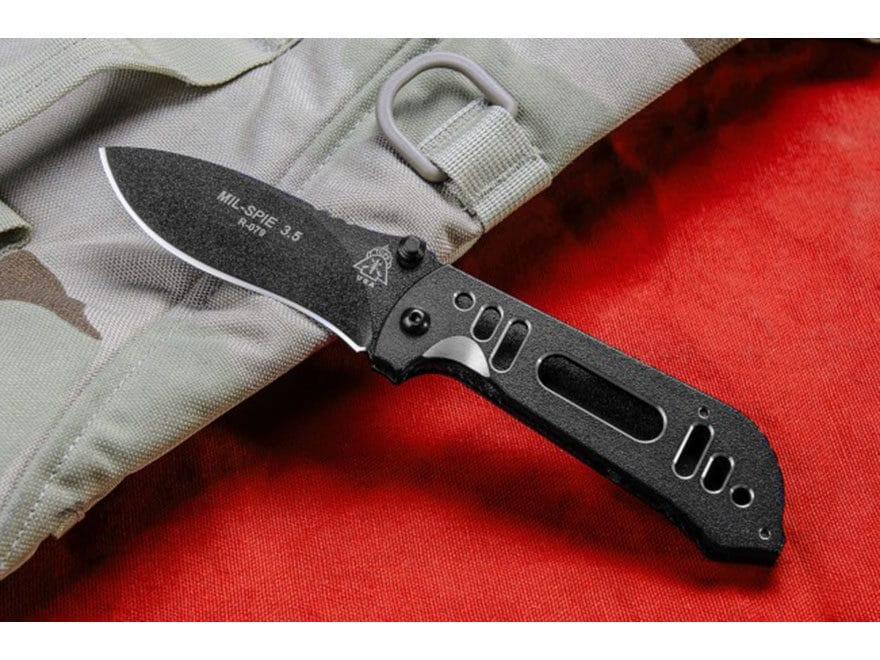 """TOPS Knives MiL-SPIE 3.5 H-01 Folding Knife 3.5"""" Black Drop Point N690Co Stainless Stee..."""