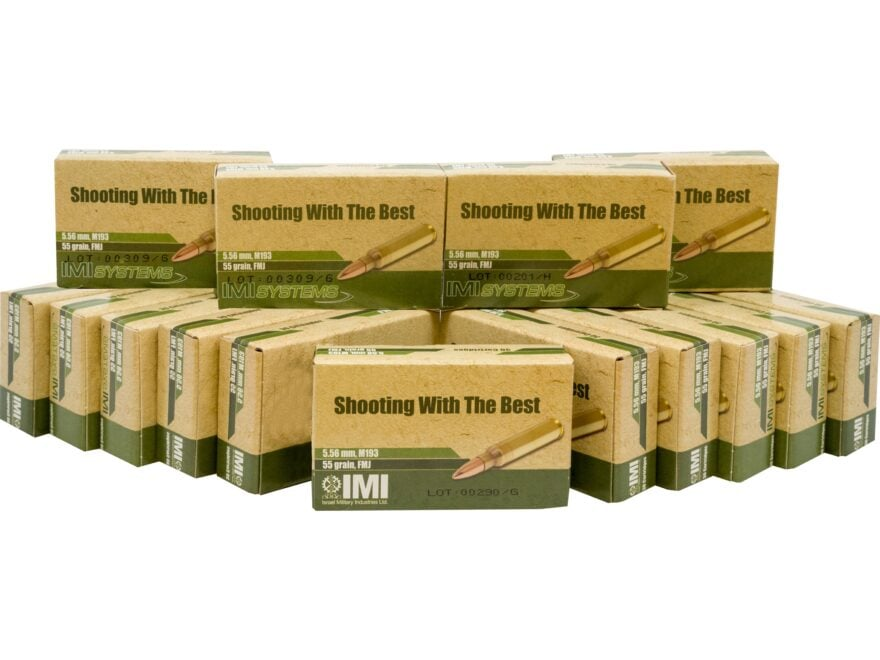 IMI Ammunition 5.56x45mm NATO 55 Grain M193 Full Metal Jacket Boat Tail Box of 450 (15 ...