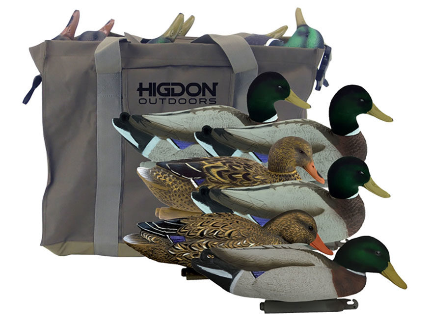 Higdon Magnum Foam Filled Flocked Head Mallard Duck Decoy with Slot Bag Polymer Pack of 6
