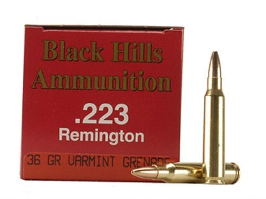 Black Hills Ammunition 223 Remington 36 Grain Barnes Varmint Grenade Hollow Point Flat ...