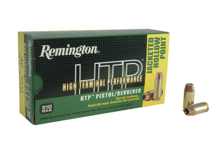 Remington High Terminal Performance (HTP) Ammunition 40 S&W 155 Grain Jacketed Hollow P...