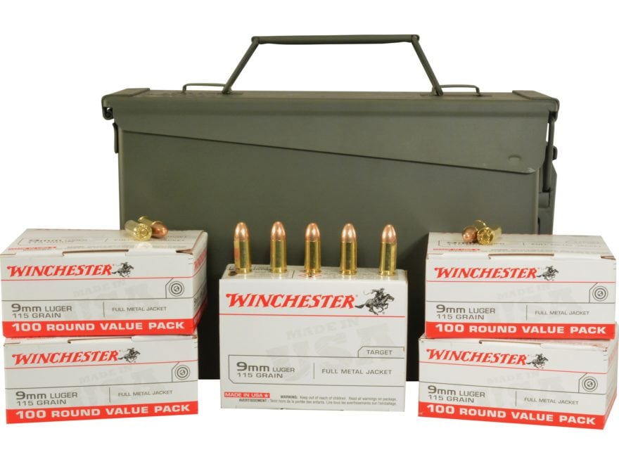 Winchester USA Ammunition 9mm Luger 115 Grain Full Metal Jacket Ammo Can of 500 (5 Boxe...