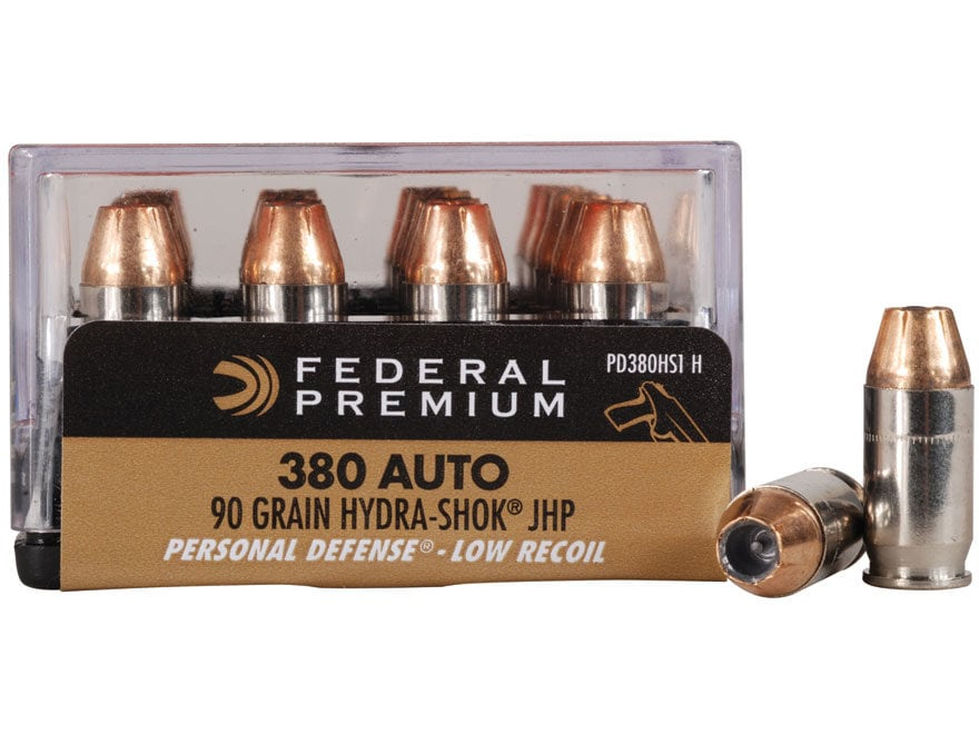 Federal Premium Personal Defense Reduced Recoil Ammunition 380 ACP 90 Grain Hydra-Shok ...