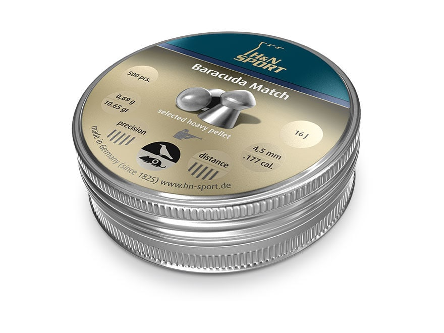H&N Baracuda Match Air Gun Pellets 177 Caliber 10.65 Grain 4.51mm Head-Size Domed Tin o...
