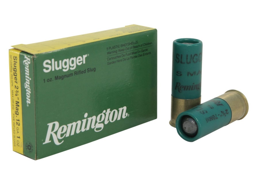 "Remington Slugger Ammunition 12 Gauge 2-3/4"" 1 oz Magnum Rifled Slug Box of 5"