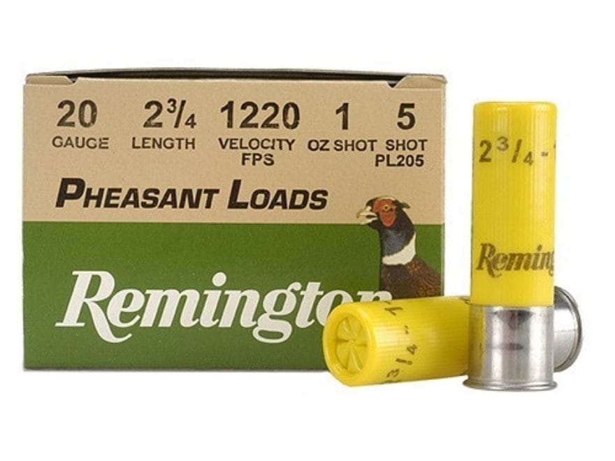 "Remington Pheasant Ammunition 20 Gauge 2-3/4"" 1 oz #5 Shot Box of 25"