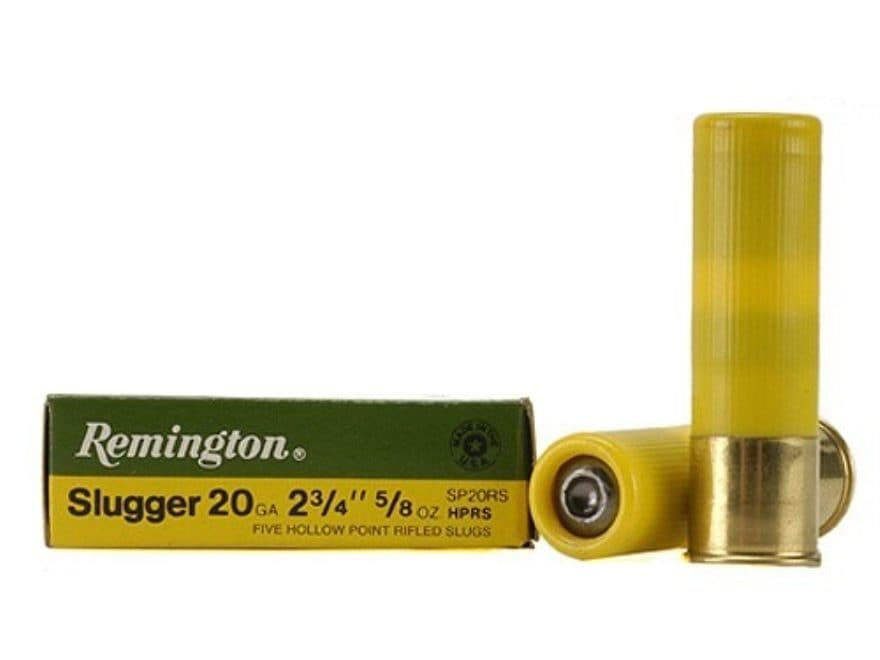 "Remington Slugger Ammunition 20 Gauge 2-3/4"" 5/8 oz Rifled Slug Box of 5"