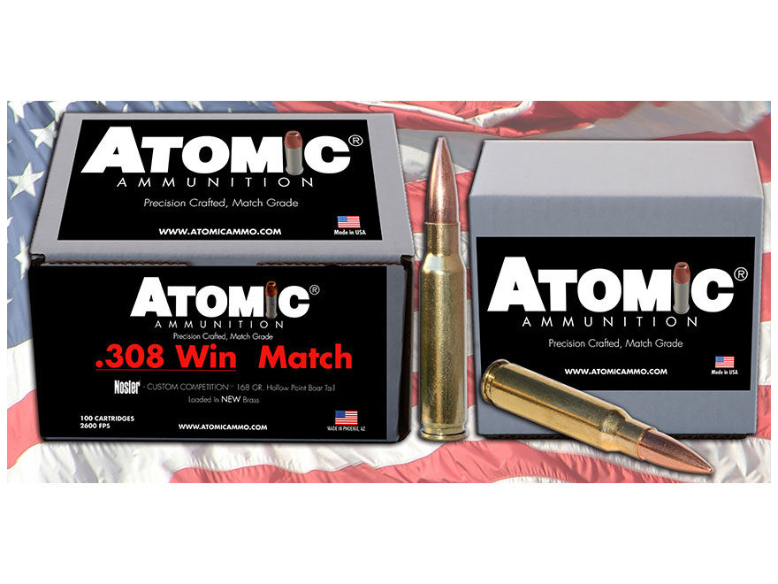 Atomic Match Ammunition 308 Winchester 168 Grain Nosler Custom Competition Hollow Point...