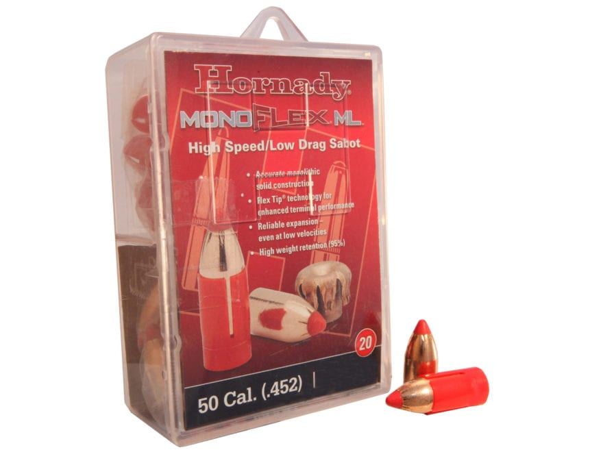 Hornady MonoFlex Muzzleloading Bullets 50 Caliber Sabot with 45 Caliber 250 Grain Low D...