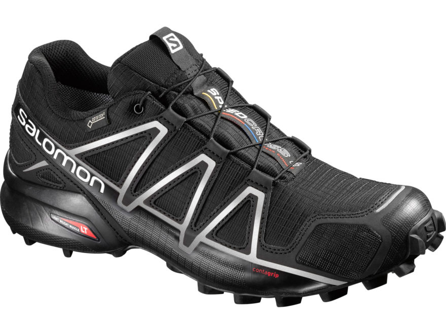 "Salomon Speedcross 4 GTX 4"" Waterproof GORE-TEX Trail Running Shoes Synthetic Black/Sil..."