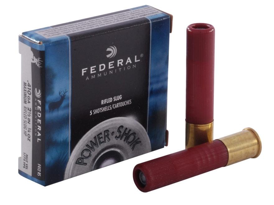 "Federal Power-Shok Ammunition 410 Bore 2-1/2"" 1/4 oz Hollow Point Rifled Slug Box of 5"