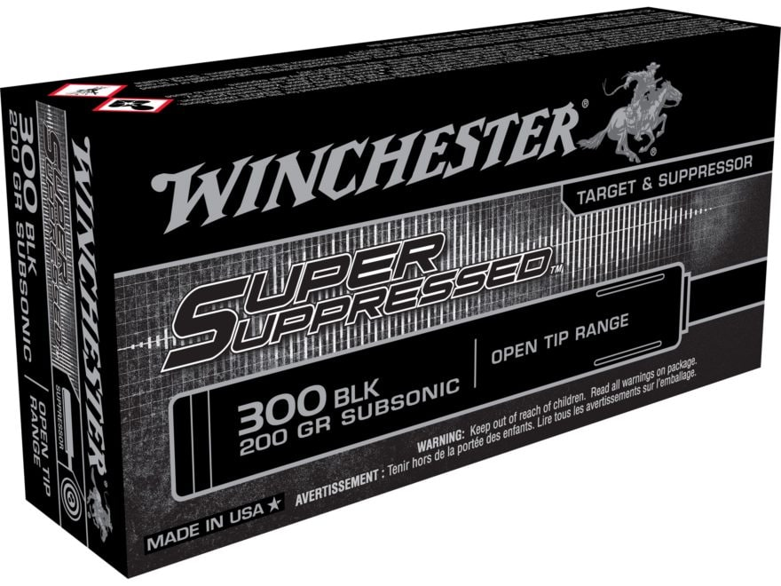 Winchester Super Suppressed Ammunition 300 AAC Blackout Subsonic 200 Grain Open Tip