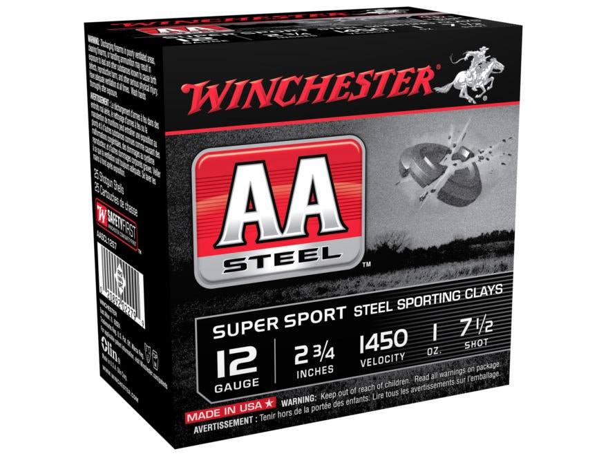 """Winchester AA Super Sport Sporting Clays Ammunition 12 Gauge 2-3/4"""" 1 oz Non-Toxic Stee..."""