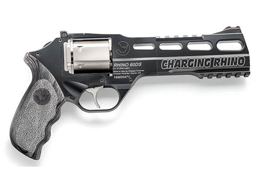 "Chiappa Charging Rhino DAO Revolver 9mm Luger 6"" Barrel Black, Gray Laminate"