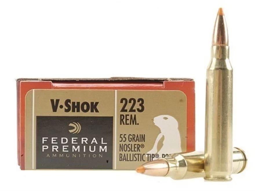 Federal Premium V-Shok Ammunition 223 Remington 55 Grain Nosler Ballistic  Tip Box of 20 fe32e5fc62
