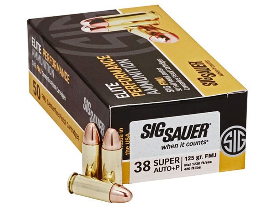 Sig Sauer Elite Performance Ammunition 38 Super +P 125 Grain Full Metal Jacket