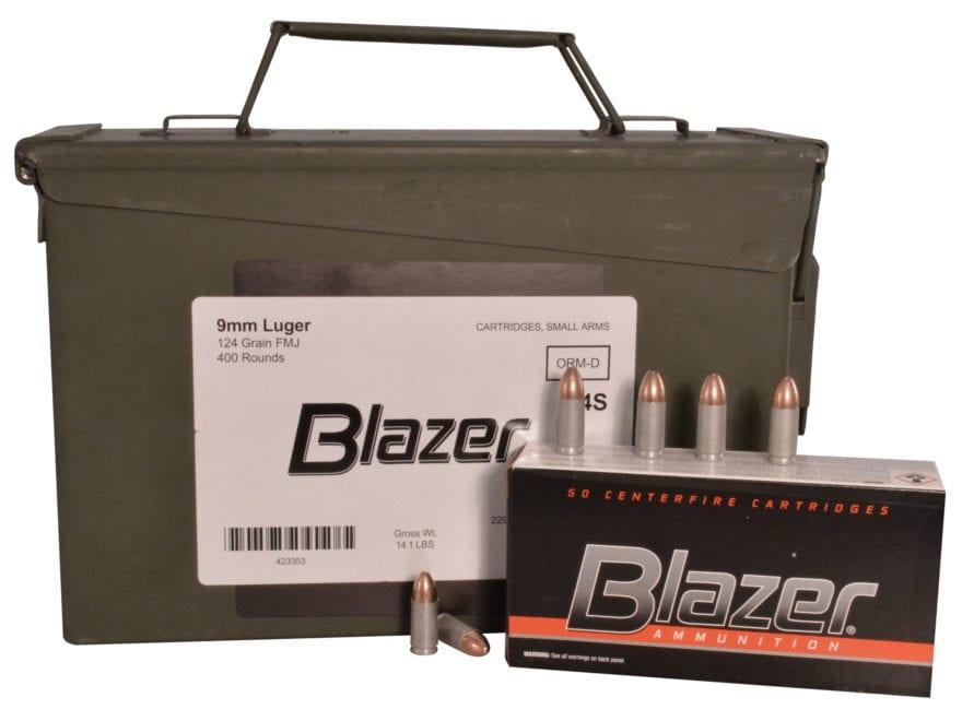 blazer ammo 9mm luger 124 grain full metal mpn 3578 ammo can 400