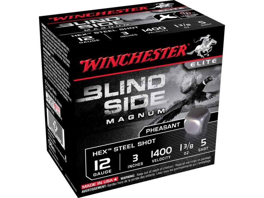 "Winchester Blind Side Pheasant Ammunition 12 Gauge 3"" 1-3/8 oz #5 Non-Toxic Steel Shot"
