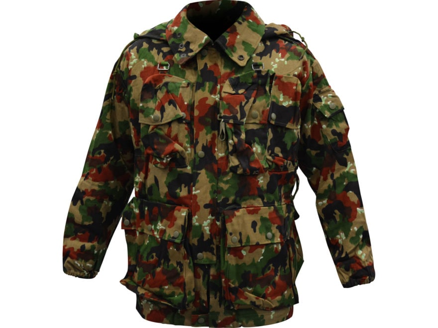 9153eabaa9f4a Military Surplus Swiss M70 Field Jacket Grade 2 Alpenflage Camo L