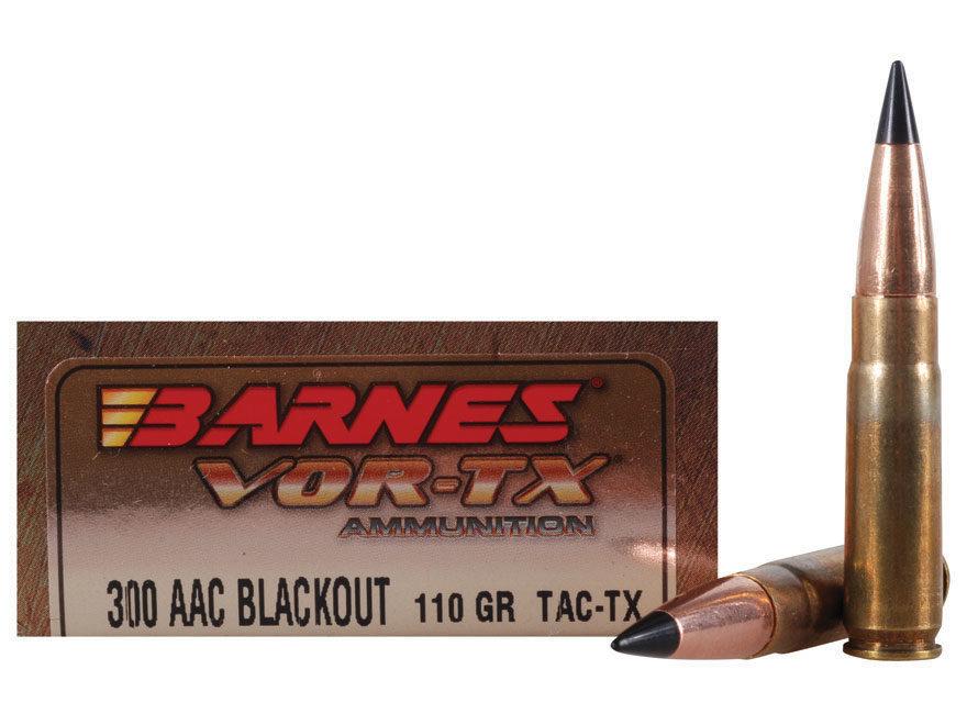 Barnes VOR-TX Ammunition 300 AAC Blackout 110 Grain TAC-TX Polymer Tipped Spitzer Flat ...