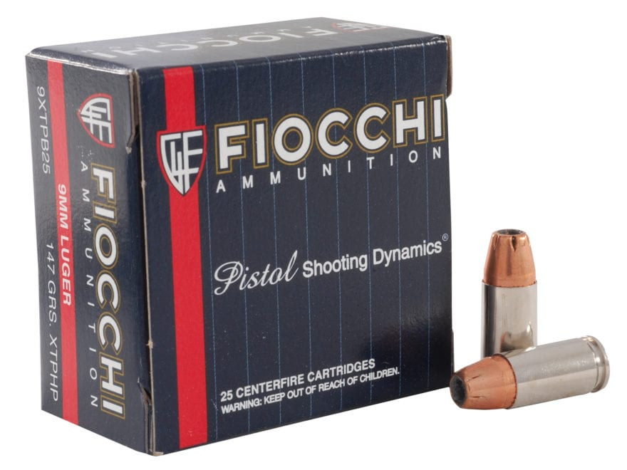 Fiocchi Extrema Ammunition 9mm Luger 147 Grain Hornady XTP Jacketed Hollow Point Box of 25