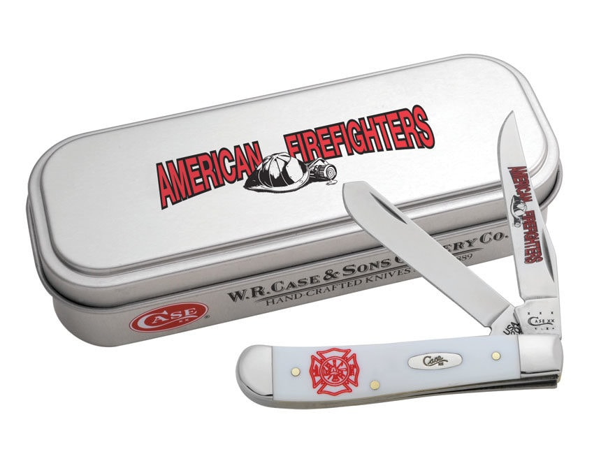 Case Firefighter Commemorative Mini Trapper Knife Clip and Spey Stainless Steel Blades ...