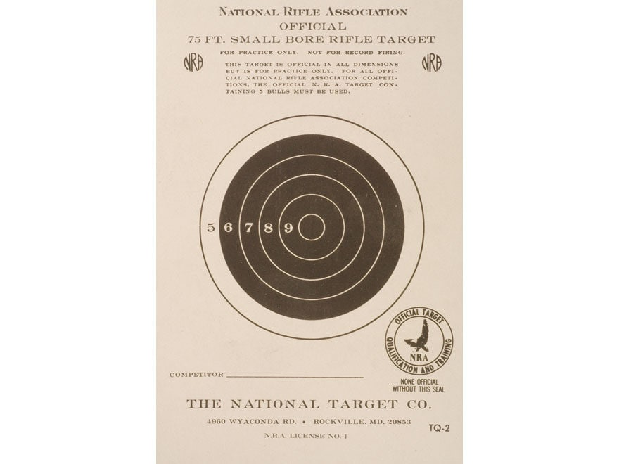 NRA Official Smallbore Rifle Training Targets TQ-2 75' Paper Package of 100