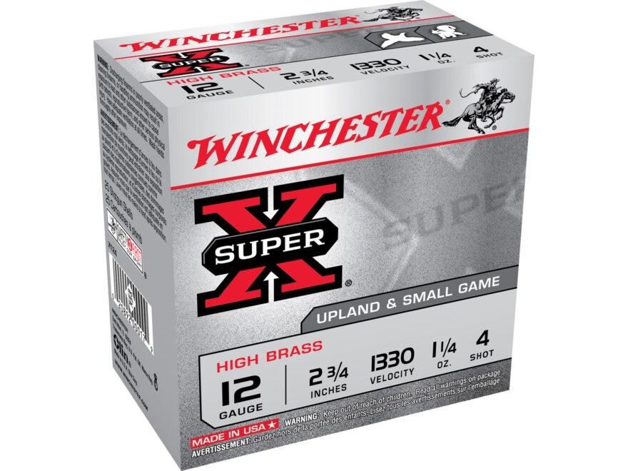 """Winchester Super-X High Brass Ammunition 12 Gauge 2-3/4"""" 1-1/4 oz #4 Shot"""