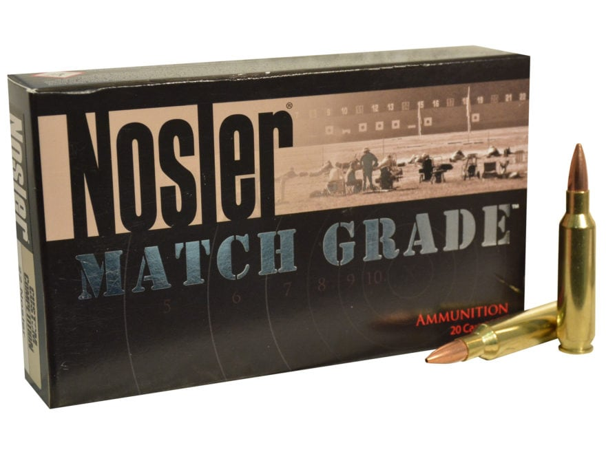 Nosler Match Grade Ammunition 22 Nosler 77 Grain Custom Competition Hollow Point Boat T...