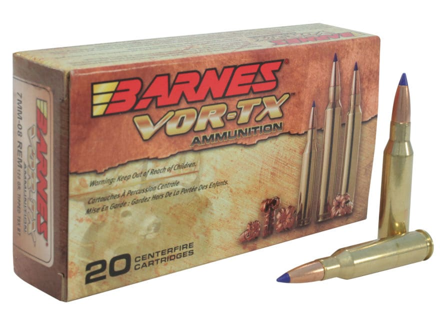 Barnes VOR-TX Ammunition 7mm-08 Remington 120 Grain TTSX Polymer Tipped Spitzer Boat Ta...