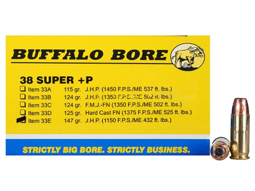Buffalo Bore Ammunition Outdoorsman 38 Super +P 147 Grain Jacketed Hollow Point Box of 20