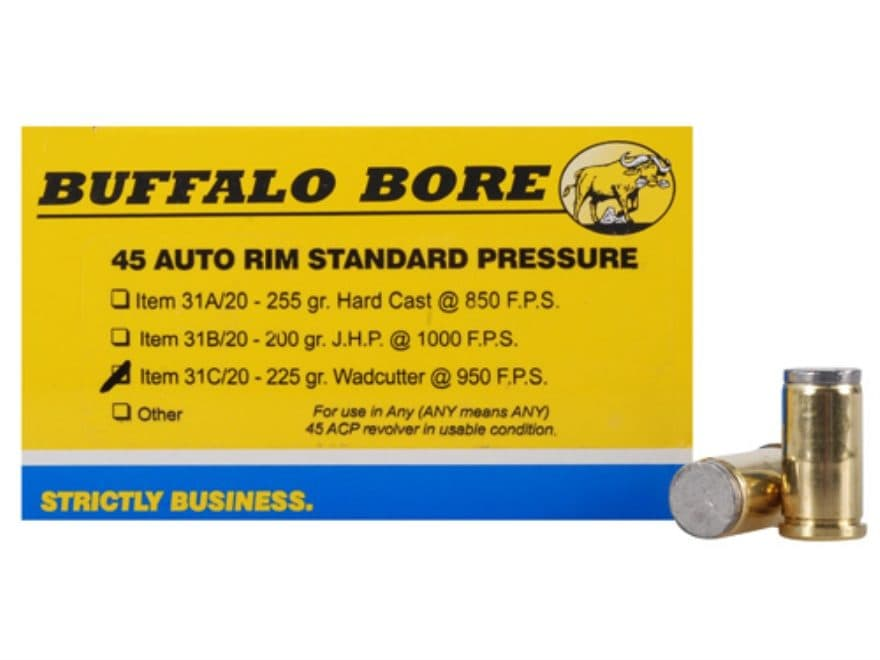 Buffalo Bore Ammunition 45 Auto Rim (Not ACP) 225 Grain Hard Cast Lead Wadcutter Box of 20