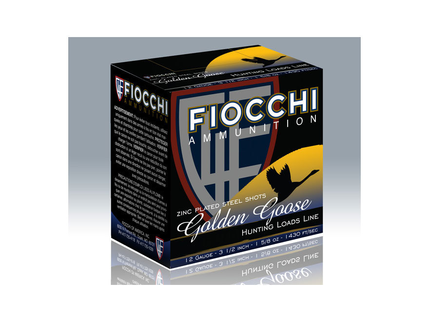"Fiocchi Golden Goose Ammunition 12 Gauge 3-1/2"" 1-5/8 oz Non-Toxic Steel Shot"