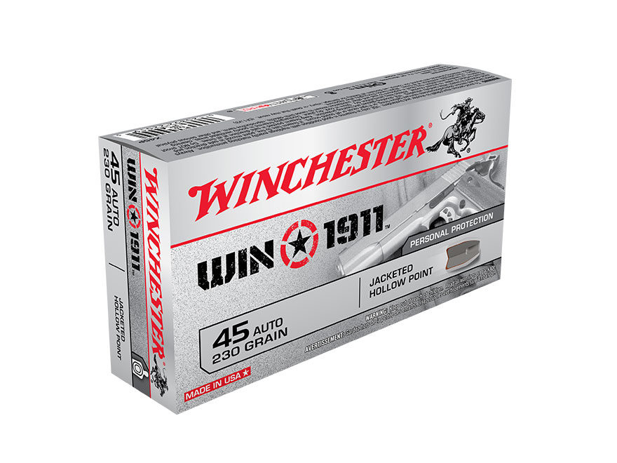 Winchester Win1911 Ammunition 45 ACP 230 Grain Jacketed Hollow Point