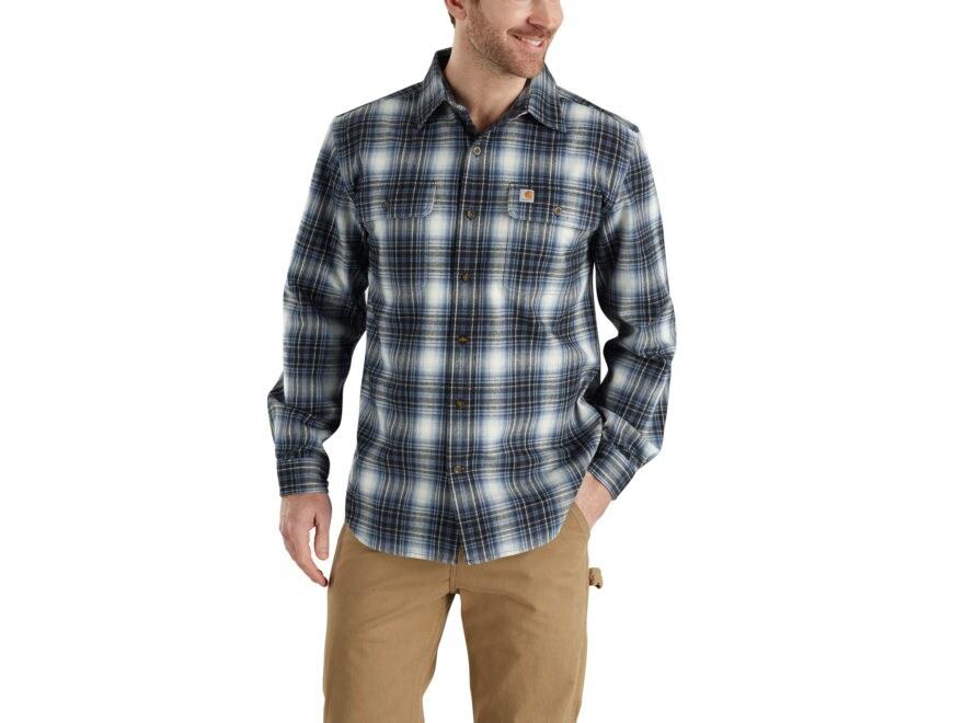 Carhartt Men's Hubbard Flannel Plaid Button-Up Shirt Long Sleeve Cotton