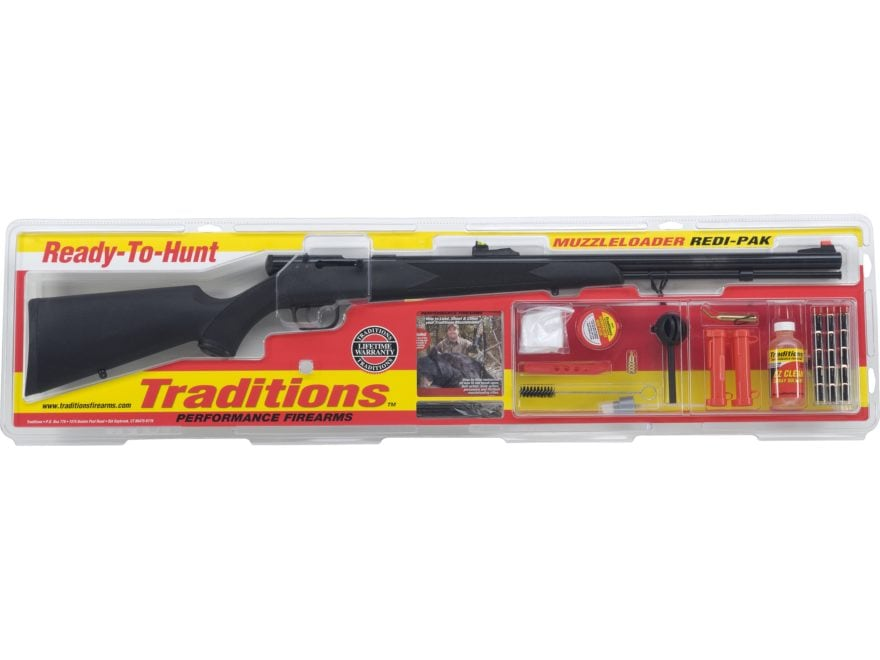 "Traditions Tracker Redi-Pak Muzzleloading Rifle 50 Caliber 24"" Blued Barrel Synthetic S..."