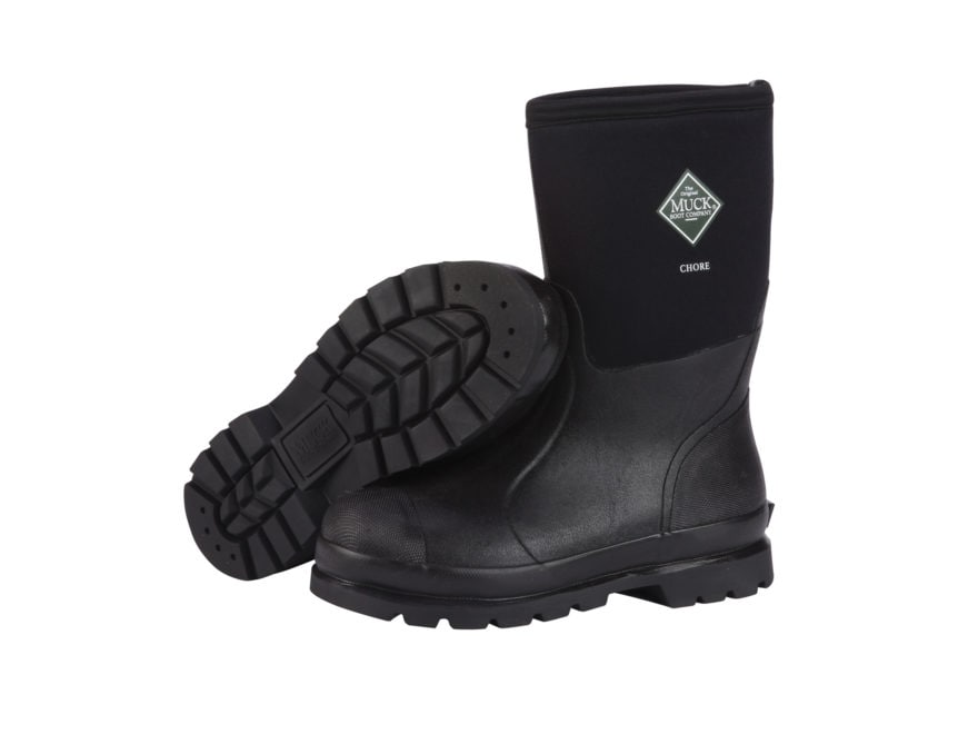 "Muck Chore Mid 12"" Work Boots Rubber and Nylon Black Men's"