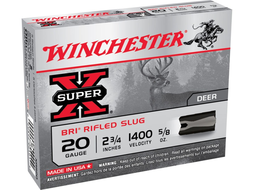 "Winchester Super-X Ammunition 20 Gauge 2-3/4"" 5/8 oz BRI Sabot Slug Box of 5"